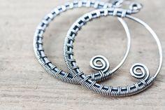 Oxidized sterling silver hoop earrings, Wire wrapped hoop earrings, handcrafted artisan jewelry