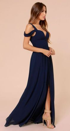 Cheap gown crochet, Buy Quality dresses for a wedding directly from China dress shirts long arms Suppliers: Sexy Navy Blue Chiffon Long Evening Dresses with Spaghetti Straps Sleeveless Front with Split Prom Party Gowns vestidos de festa Navy Evening Dresses, Navy Blue Prom Dresses, Blue Maxi, Navy Dress, Bridesmaid Dresses, Maxi Dresses, Long Dresses, Party Dresses, Pink Maxi
