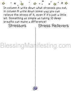 Free printable of Stressors and Stress Relievers. Use for small group on coping with stress/worries.