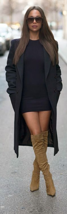 Long Sleeve Coat with Sweater Dress and Mustard Over The Knee Boots / Johanna Olsson