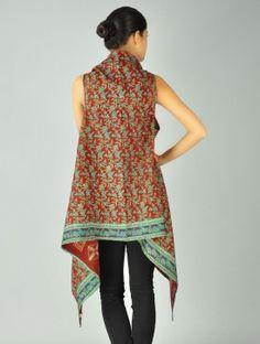 Silk-Saree Kantha Shrug (Free Size)-- a use for sari fabric Indian Fabric, Sari Fabric, Sari Silk, Silk Sarees, Saris, Indian Attire, Indian Outfits, Diy Clothing, Sewing Clothes