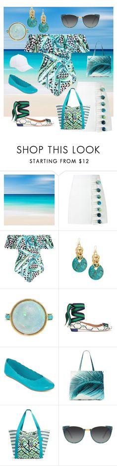 """""""Beach, and later a casual dinner"""" by trescrwndgg ❤ liked on Polyvore featuring Christopher Esber, Mara Hoffman, Devon Leigh, City Streets, Amuse Society, Vera Bradley, Linda Farrow and Sole Society"""