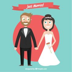 Cartoon just married couple I Free Vector