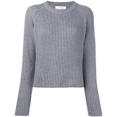 Carven Ribbed Cropped Jumper (£300) ❤ liked on Polyvore featuring tops, sweaters, grey, cut-out crop tops, gray crop top, grey cropped sweater, grey top and grey crop top
