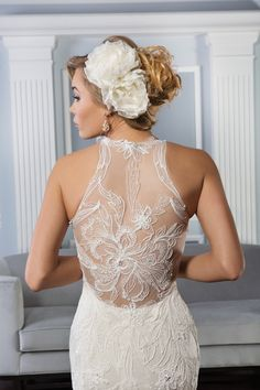 Check out the insane detail on the back of this #gown ...amazing! #lace #illusion {Lillian West}