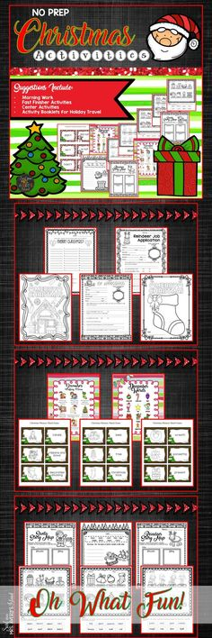 These Christmas activities are perfect ideas for kids in school to practice a variety of skills.  Teachers, these no-prep, Christmas themed printables are perfect for morning work, literacy centers, RTI, substitute teacher activities, fast finisher activities, etc during December!  Let your teaching come alive in the classroom with these engaging, fun Christmas activities by incorporating them into your reading and ELA lessons.