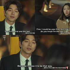 Besause I chose it to be that way. Uuh so romantic Dokkaebi ahjussi - matilda Korean Drama Funny, Korean Drama Quotes, Drama Film, Drama Movies, Romantic Dialogues, Lets Fight Ghost, Goblin Korean Drama, Goblin Kdrama, Yoo Gong