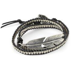 M.Cohen Handmade Designs Black Deer Skin Leather Wrap Charm Bracelet ($365) found on Polyvore