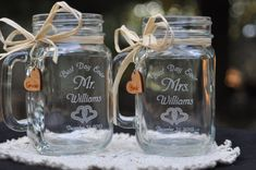 Wedding Mason Jar Table Setting Double Hearts Best Day Ever Choose Handle Directions on Etsy, $28.00 Mason Jars With Handles, Mason Jar Wedding Favors, Anniversary Decorations, Wedding Decorations, Bachelorette Invitations, Beach Wedding Reception, Ball Jars, Best Day Ever, Wedding Locations