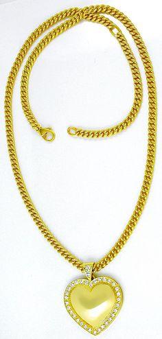 Foto 3, Brillant-Herz-Kollier extramassiv! Gelbgold Luxus! Neu!, S8735