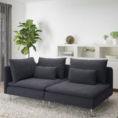 SÖDERHAMN sofa, with open end/Samsta dark grey. If you like the way it looks you have to try it! The deep seats, moveable back cushions and suspension fabric make this seating very comfortable. Create your own combination, sit back and relax. Söderhamn Sofa, Ikea Couch, Blog Design Inspiration, Bed Slats, Comfortable Sofa, Sit Back And Relax, Fabric Sofa, Wood Veneer, Plywood