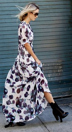 Charlotte Groeneveld + effortlessly feminine + gorgeous floral printed maxi dress + edgy black ankle boots + classic sunnies  Dress: Baum und Pferdgarten SS16, Bag/Boots: Chloe.
