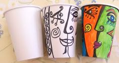 Picasso Paper Cups - you could add hair out of the top.