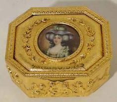 ANTIQUE JEWELRY BOX FRENCH, GILT BRONZE