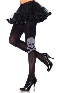 Skull and Crossbones Tights | Black Opaque Skull Tights, Roller Derby Skull Tights