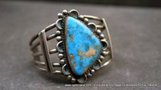 Large Sterling SIlver & Bisbee Turquoise Cuff by TheAthenaeum,