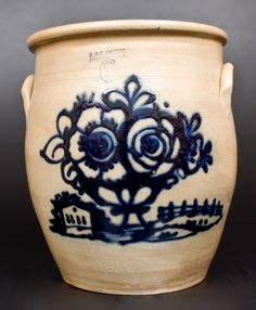 Exceptional J. & E. NORTON / BENNINGTON, VT Stoneware Jar with…