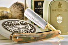 "Mitchell Wool fat shave soap, Dovo Mammut 5/8"" straight razor, custom elk antler badger brush, vintage Yardley aftershave, Truefitt & Hill Freshman cologne, July 9, 2014"