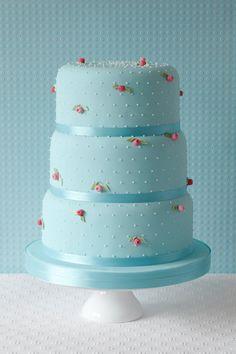 Pastel Blue w/ Rosebuds Cake