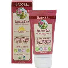 Badger SPF 25 Damascus Rose Sheer Tint Sunscreen Lotion - Best Tinted Sunscreen for Face