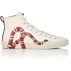 Gucci Men's Major Leather Sneakers ($750) ❤ liked on Polyvore featuring men's fashion, men's shoes, men's sneakers, white, mens high tops, mens white high top sneakers, mens black hi top sneakers, mens shoes and mens leather shoes