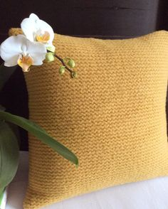 Ochre-yellow cushion crafted from a vintage wool sweater. Wonderful visual and tactile texture. Crafted in Canada. Tactile Texture, Upcycled Sweater, Yellow Cushions, Sweater Pillow, Vintage Wool, Wool Sweaters, Girl Boss, Mall, Mustard