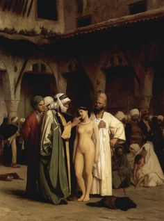 The Slave Market, 1867, Jean-Leon Gerome  Gerome travelled to Constantinople in 1853, when he was 29.  He was already a prolific painter, and he soon became one of the most prolific and influential Orientalist artists.  This painting, which we'll come back to later on, is a step away from the realism of Roberts' picture.  It's designed for voyeuristic appeal, and the D/s relations are foregrounded, whereas Robert's slaves (and dealers) look slightly bored.