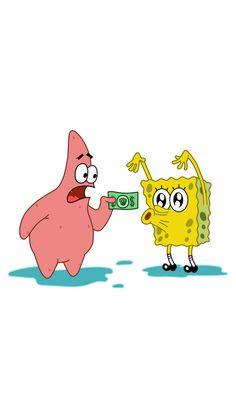 SpongeBob and Patrick with Dollar Sticker
