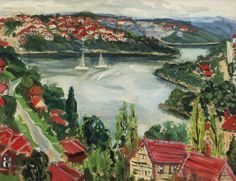 Margaret Preston (Australian, 1875-1963), Middle Harbour, c.1952. Oil on board, 34.5 x 44.5cm.