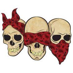 Bandana skulls, hear no evil, see no evil, speak no evil.  @mi4108