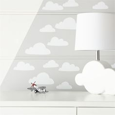 Shop White Cloud Decal Set. Make any kids room or nursery decor a little dreamier with our cloud decals. The set includes 20 decals that you can apply to walls by simply peeling and sticking. Designed just for us by Ashley Goldberg.