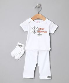 Take a look at this White 'Happy Halloween' Tee Set by Truffles Have Ruffles on #zulily today!