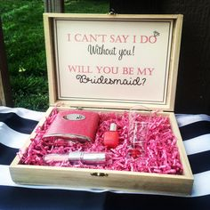 What a fabulous gift for a maid of honor, or bridesmaid gift. This box is gorgeous and can be of great use in the future to store jewelry, perfumes, or other special keepsakes. Asking Bridesmaids, Bridesmaids And Groomsmen, Wedding Bridesmaids, Bridesmaid Gift Boxes, Bridesmaid Proposal, Bridesmaid Gifts Will You Be My, Bridesmaid Outfit, Bridesmaid Ideas, Gifts For Wedding Party