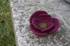 Red Flower Felted Brooch Wool Jewelry Handmade Unique Red