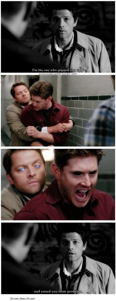 """10x03 Soul Survivor / 4x01 Lazarus Rising [gifset] - """"I'm the one who gripped you tight and raised you from perdition."""" - Castiel, Dean Winchester; Supernatural - 6 year difference...  <~~~ I really like this pair up."""