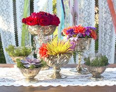 Complete the table using our full collection of vintage-style mercury glass vessels.