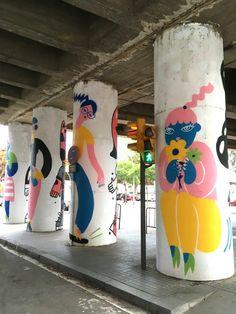Column Forest – Emily Eldridge Street Art is a very popular type of art that'… Murals Street Art, Mural Art, Graffiti Art, Wall Murals, Graffiti Quotes, Street Wall Art, Art Art, Street Art Love, Art Studies