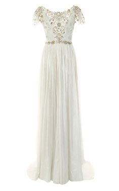 Hand-Pleated Silver Foil Embroidered Chiffon Gown by Marchesa