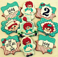 Raggedy Ann cookies~                        No source, red, blue, doll, number