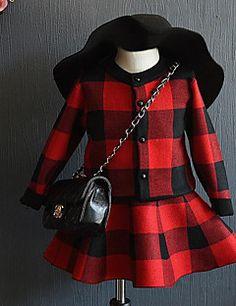 Vestido / Conjunto de Ropa Chica de-Noche-Cuadrícula-Acrílico-Primavera / Otoño-Negro / Rojo