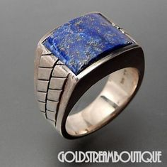 Grand Sterling Silver Lapis Lazuli Ribbed Design Solid Heavy Men's Ring Size 11