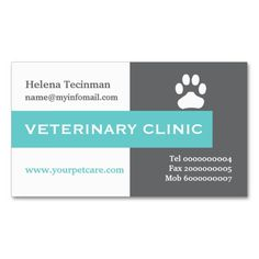 Vet Veterinary Clinic Paw Aqua Eye Catching Business Card Zazzle Com Veterinary Clinic Clinic Aqua Eyes