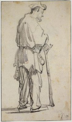 Rembrandt van Rijn Drawings STANDING BEGGAR TURNED TO THE RIGHT c. 1628-1629 292 x 170 cm. Rijksprentenkabinet, Amsterdam