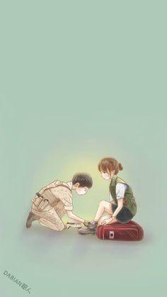 Descendants of the sun fanart dabian 超人 Love Cartoon Couple, Cute Couple Art, Anime Love Couple, Cute Anime Couples, Songsong Couple, Anime K, Anime Art Girl, Chibi, Korean Art