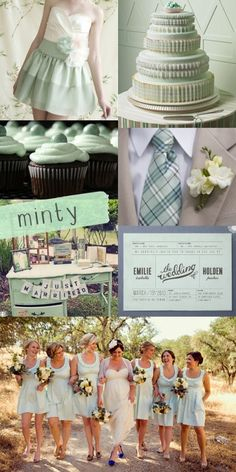 Loving the Mint Wedding Theme- I like the color of the dresses