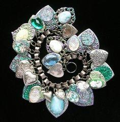 Vintage Heart Charm Bracelet Cameo Czech Glass Button Book Chain Enamel Flowers