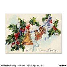 Bells Ribbon Holly Winterberry 5x7 Paper Invitation Card