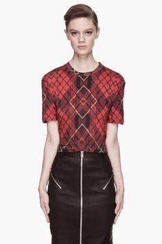 MCQ ALEXANDER MCQUEEN Red plaid tartan Boyfriend T shirt McQ by Alexander McQueen