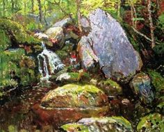 """Forest Spring,"" John Joseph Enneking, oil on board, 25 x 29 Cape Cod Museum of Art. Joseph, Spring Forest, Favorite Subject, Reproduction, Art Museum, Cape Cod, Painting, Animals, Oil"