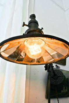 Fabulous, industrial-look,, overhead lamp. The light bulb looks good too. Steampunk House, Steampunk Design, Steampunk Lamp, Steampunk Fashion, Industrial Lighting, Vintage Lighting, Industrial Style, Echo Park, Modern Craftsman